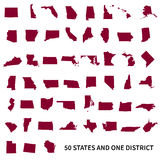 United States of America 50  and 1 federal district. Set o Stock Photos