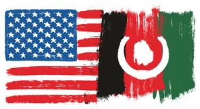 United States of America Flag & Afghanistan Flag Vector Hand Painted with Rounded Brush. This image is a vector illustration and can be scaled to any size Royalty Free Stock Photo