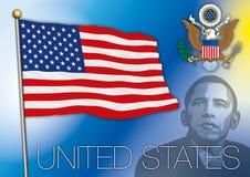 United states of america flag, barack obama portrait Stock Photos