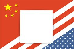 United States of America flag and China flag together with place for your text. United States of America flag and China flag together Stock Photos