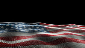 Waving American flag. 3D illustration of American flag laying on side waving against black background