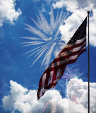 United states of America flag with fireworks Royalty Free Stock Images