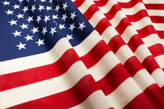 United States of America flag floating in the wind stock image
