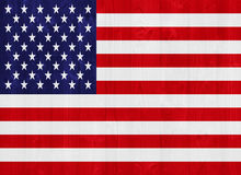United States of America flag. Gorgeous United States of America flag painted on a wood plank texture Royalty Free Stock Photo