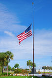 United States of America flag at half staff. To commemorate the victims of the Twin Towers attack on September 11, 2001 Royalty Free Stock Photos