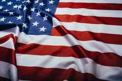 United States of America flag. Image of the american flag flying in the wind. American flag waving in the wind royalty free stock photography