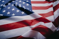 United States of America flag. Image of the american flag flying in the wind stock photo
