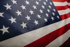 United States of America flag. Image of the american flag flying in the wind royalty free stock photo