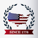 United states of america flag and map design Royalty Free Stock Image