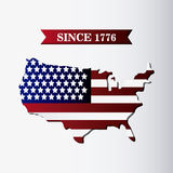United states of america flag and map design Stock Image