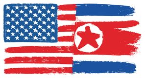 United States of America Flag & North Korea Flag Vector Hand Painted with Rounded Brush. This image is a vector illustration and can be scaled to any size Royalty Free Stock Image