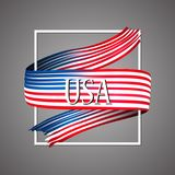United States of America flag. Official national colors. USA. 3d realistic ribbon. Waving vector patriotic glory flag stripe sign. Vector illustration Stock Photo
