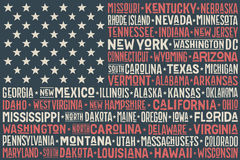United States of America flag. Poster of United States of America flag with states and capital cities. Print for t-shirt of USA flag with names states. Colorful Stock Image
