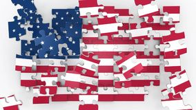 United States of America flag puzzle stock video