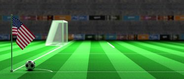 USA flag on a soccer field. 3d illustration. United states of America flag on a soccer football field. 3d illustration Stock Photo