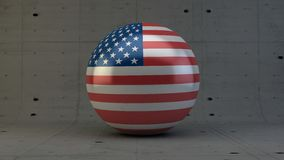 United States of America flag sphere icon  in concrete room Royalty Free Stock Photo