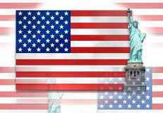United States of America Flag Statue of Liberty Royalty Free Stock Photo