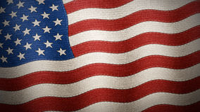 United States of America flag textured - Illustration. United States of America flag waved and crunched on fabric, texture annd seams, Illustration Stock Image