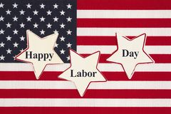 United States of America flag with three stars with text Happy Labor Day royalty free illustration