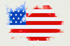 United states of america flag on white brick wall background, animation painted with watercolor effect, artistic style usa vote el Stock Photo