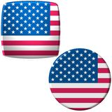 United States of America Flags. 2 buttons or badges with the flag of the United States of America stock illustration