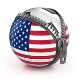 United States of America football nation. Football in the unzipped bag with US flag print Royalty Free Stock Photos