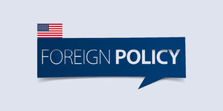 United States of America foreign policy banner isolated on light blue background. Banner design template. Stock Image
