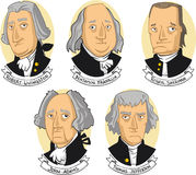 United states of america founding fathers. Cartoon collection Royalty Free Stock Photos