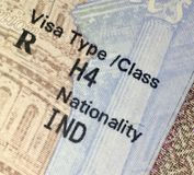 United States of America h4 dependent visa. United States of America h4 h1b dependent visa Royalty Free Stock Photo