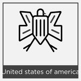 United states of america icon isolated on white background. With gray frame, sign and symbol Royalty Free Stock Image