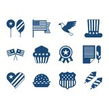 United States of America Independence Day icon set.  Royalty Free Stock Photos