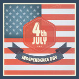 United States of America Independence day vintage card design. Long shadow poster in retro grunge style. Eps10 vector illustration Royalty Free Stock Photography