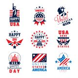 United states of America logo templates set, Happy Independence Day badges vector Illustrations Stock Photography