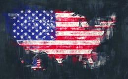 United States of America map artwork painting. Illustration royalty free illustration