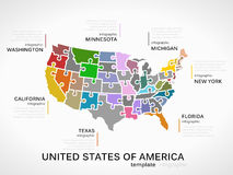 United states of america map. Concept infographic template with states made out of puzzle pieces Stock Photo
