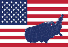 United states of America map and flag royalty free illustration