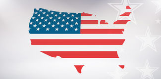 United States of America map with flag. Digital image of United States of America map with flag against starry bac stock illustration