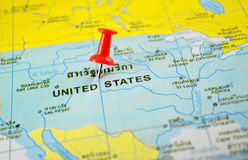 United states america map. Macro shot of United states america map with push pin Royalty Free Stock Photo