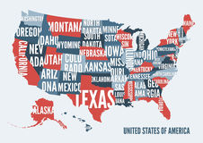United  States of America map print poster design. Stock Photography