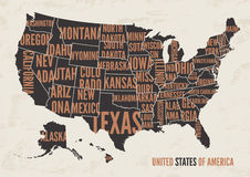 United  States of America map print poster vintage design. Royalty Free Stock Photography
