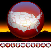 United states of america map symbol. In white and red sphere. Mountain landscape Stock Photo