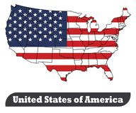 United States of America Map and United States of America Flag-Vector stock illustration