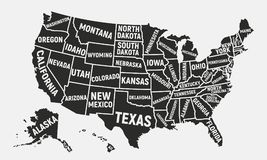 USA Map With Names Of States Stock Vector - Illustration of florida ...