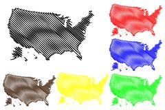 United States of America map vector Stock Photo