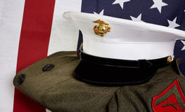 United States of America Marine Corps and USA flag Royalty Free Stock Photos