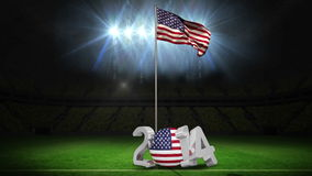 United States of America national flag waving on football pitch with message. United States of America national flag waving on football pitch on black background stock footage