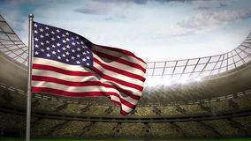 United states of america national flag waving on stadium arena. United states of america national flag waving on flagpole on stadium arena background with stock video