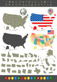 United States of America navigation set Royalty Free Stock Images