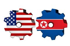 The United States of America and North Korea working together. Two cogwheels with a flag of the United States and North Korea isolated on white Stock Photos