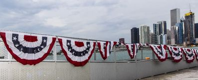 United States of America Banner under Chicago Skyline Stock Image